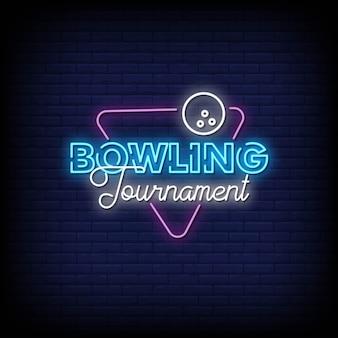 Insegna al neon del torneo di bowling sul muro di mattoni
