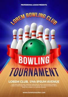 Poster del torneo di bowling. composizione di palla e birilli 3d