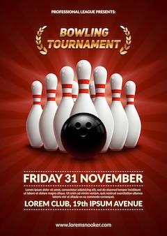 Poster del torneo di bowling. palla 3d e birilli.