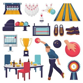 Carattere di uomo vettoriale di bowling gioca gioco di kegling con bowlingball sul vicolo e lancia una palla a birilli illustrazione vincere trofeo ciotola e premio set isolato su spazio bianco