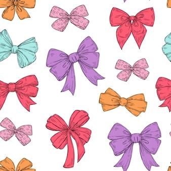 Modello di archi. cravatta moda fiocchi accessori schizzo scarabocchi nastri legati. trama di carta da parati senza giunte di vacanza