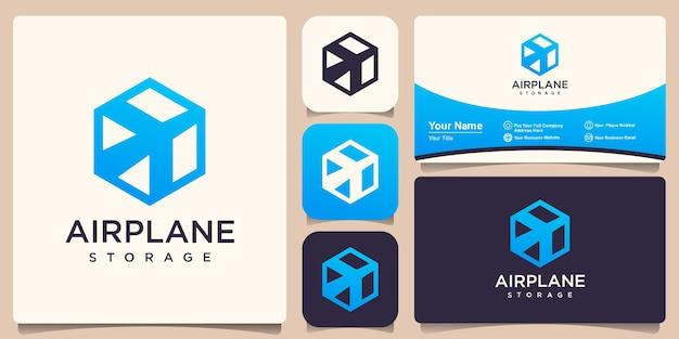 Combinazione logo scatola e aereo. pacchetto e simbolo o icona dell'aeroplano.