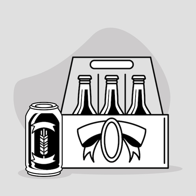 Scatola di bottiglie di birra
