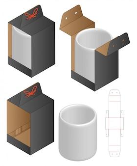 Modello fustellato confezione scatola tazza