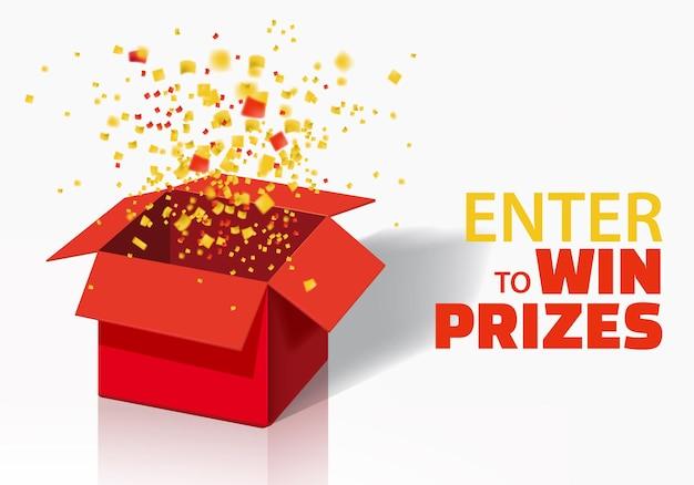 Scatola exploision, blast. confezione regalo rossa aperta e coriandoli. entra per vincere premi.