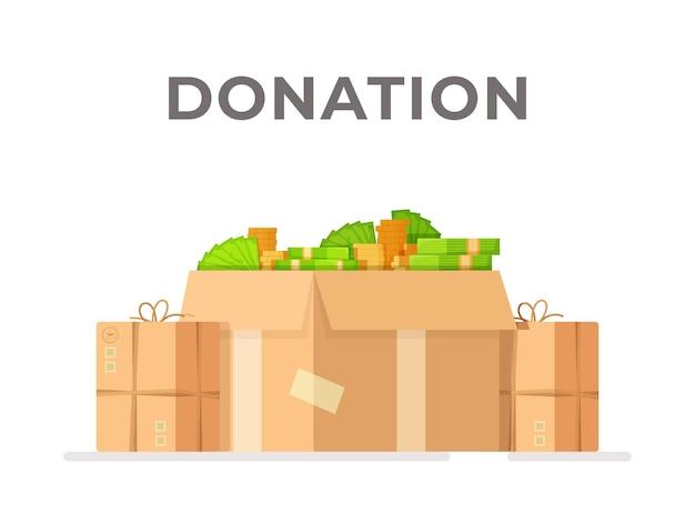 Una scatola piena di soldi illustrazione vettoriale di una pila di scatole regalo piene di soldi