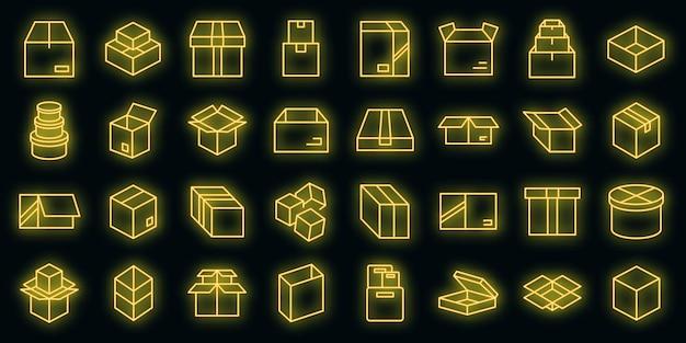 Icone della scatola impostate vettore neon