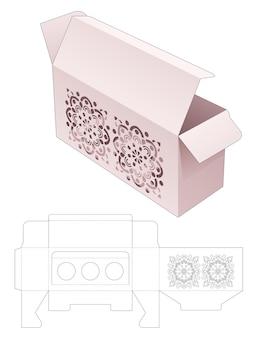 Scatola e supporto per inserti con stencil mandala e modello fustellato