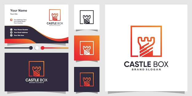 Logo della scatola con il concetto di castello creativo all'interno della scatola e del biglietto da visita