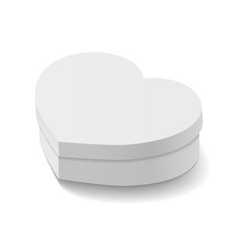 Mockup di scatola in amore a forma di cuore. regalo per compleanno o regalo di nozze