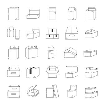 Scatola contorno icona setpost box scatola cosmetica scatola di carta sfondo bianco isolato con linee nere