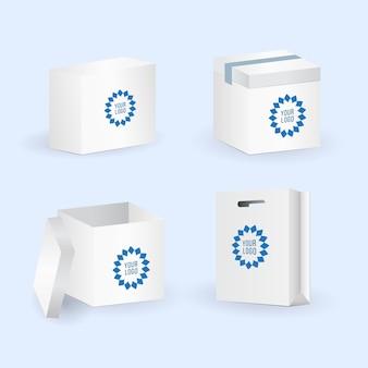 Scatola e set di pacchetti. illustrazione vettoriale