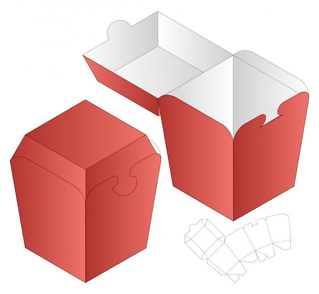 Progettazione del modello fustellato imballaggio della scatola. 3d