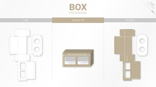 Confezione in scatola e modello fustellato