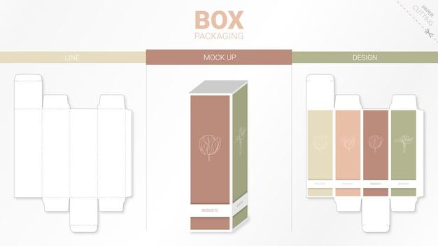 Confezione scatola e modello fustellato moackup