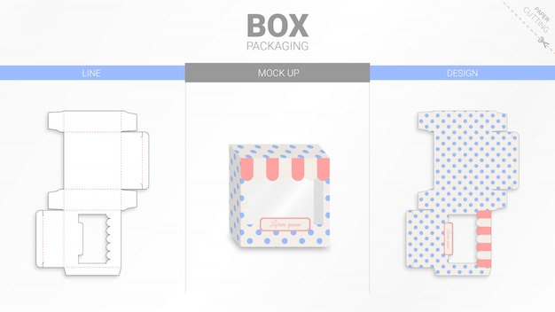Confezione in scatola e modello fustellato moackup