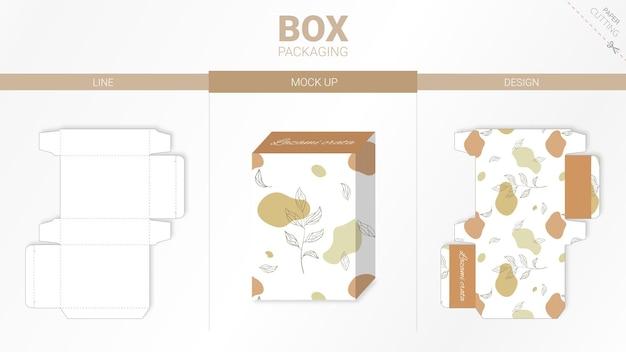 Confezione in scatola e modello fustellato mockup