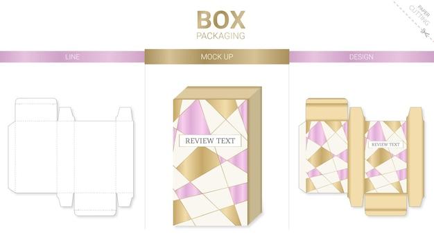 Confezione della scatola e modello fustellato mockup