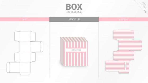 Confezione in scatola e mockup fustellati