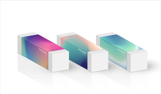 Scatola, modello di imballaggio per l'illustrazione del design vettoriale del prodotto.
