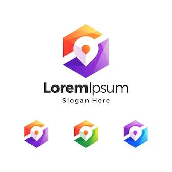Design del logo premium con sfumatura di colore della mappa del pin della scatola