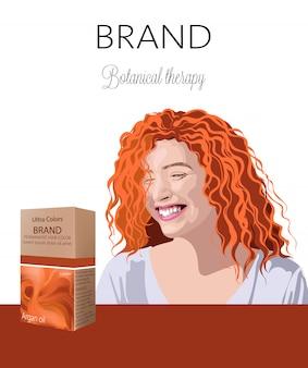 Scatola con cosmetici per capelli con posto per il testo. sorridente donna riccia dello zenzero in background terapia botanica. il tuo marchio