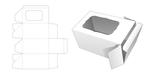 Scatola con sagoma fustellata finestra rettangolare curva