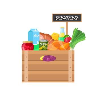 Scatola con donazione di cibo