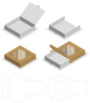 Scatola con finestra di plastica fustellato mock up template vettoriale