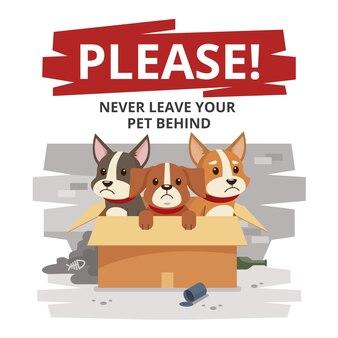 Scatola con cani tristi lasciati alle spalle