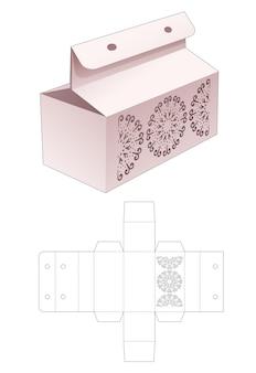 Scatola con mandala a forma di cerchio stampato e modello fustellato con foro per nastro