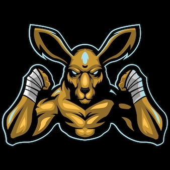 Boxer kangaroo esport logo illustrazione