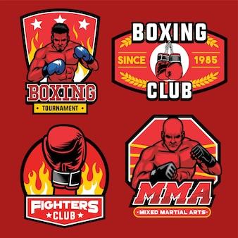 Collezione di set di badge di boxe