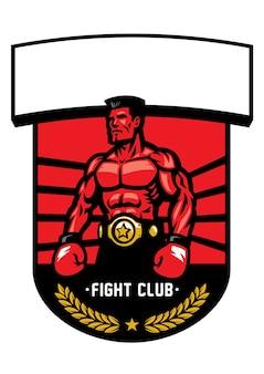 Distintivo di campione di boxe isolato su bianco