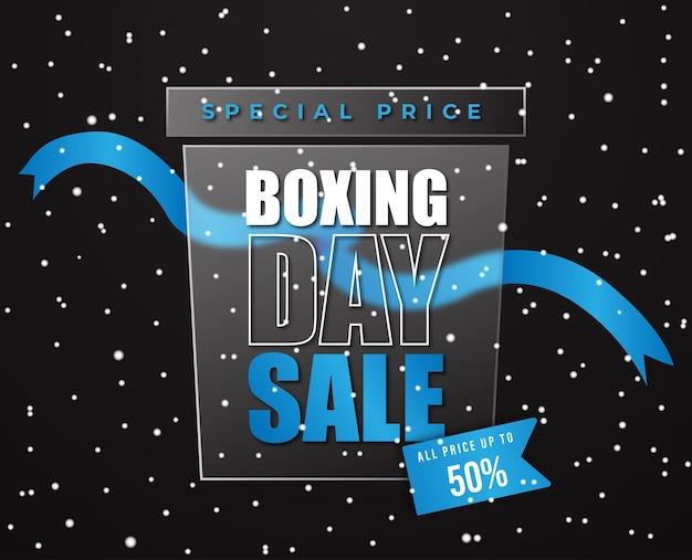 Boxing day sale scatola trasparente exclusive blue ribbon snow vector