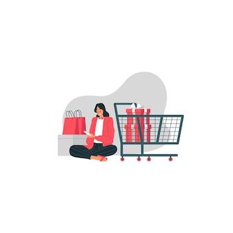 La vendita di santo stefano con la ragazza felice sta ordinando le merci attraverso la sua illustrazione del cellulare