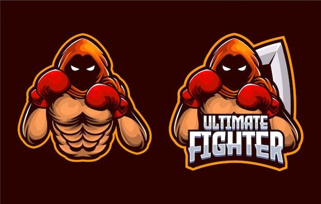 Modello di boxe emperor muscle fighter, dragon sport ed esport logo