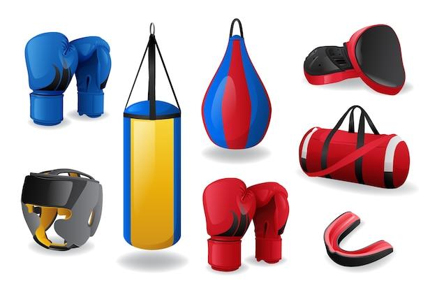 Set di attrezzature da boxe isolato su sfondo bianco, lotta sportiva, concetto di mma, guanti rossi e blu, sacco da boxe, protezione per la testa e la bocca