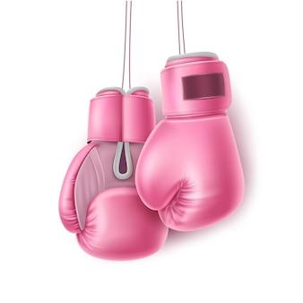 Guantoni da boxe appesi al pizzo. guantoni da boxe rosa realistici. boxer equiment