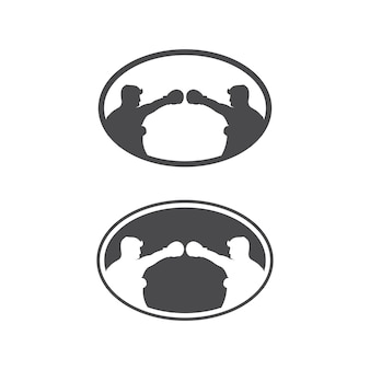 Insieme dell'icona di boxe e simbolo dell'illustrazione del design del pugile del combattente