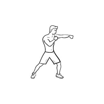 Uomo di boxe in guanti icona di doodle di contorni disegnati a mano. sport da combattimento, arti marziali, concetto di competizione di boxe
