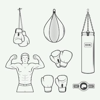 Distintivi con logo di boxe e arti marziali, etichette ed elementi di design in stile vintage. illustrazione vettoriale