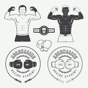 Etichette per distintivi con logo di boxe e arti marziali ed elementi di design in stile vintage