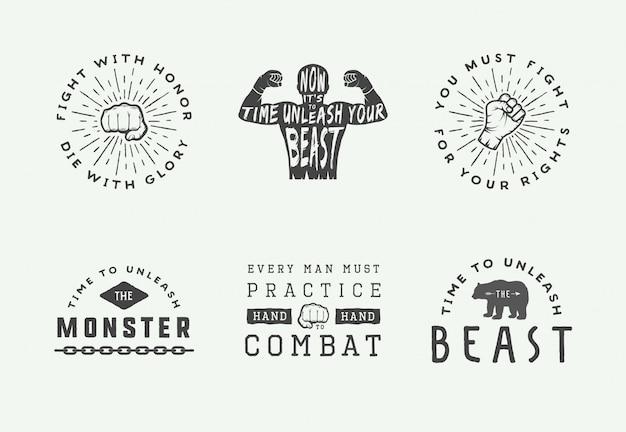 Distintivi ed etichette con logo di boxe e arti marziali in stile vintage. poster motivazionali con citazioni ispiratrici.
