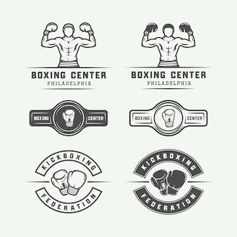 Distintivi ed etichette con logo di boxe e arti marziali in stile vintage