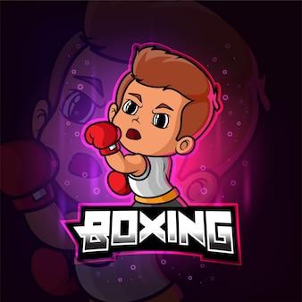 Mascotte di boxe esport logo colorato