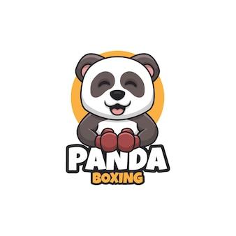 Panda di boxe simpatico cartone animato logo illustration