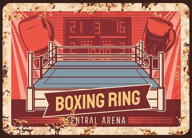 Ring di pugilato, piastra metallica arrugginita, club di lotta sportiva