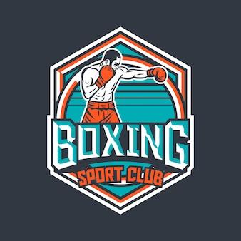 Distintivo di boxe sport club retrò con illustrazione del pugile