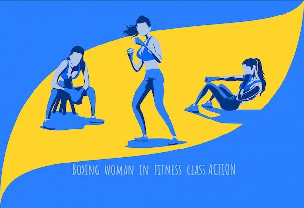 Donna di allenamento di boxe in classe di fitness set di caratteri.